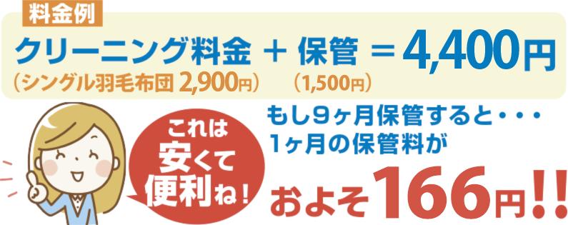クリーニング料金+保管=3,800円